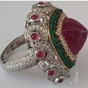 Natural Ruby Cab, Beads with Emerald & Diamond Ring