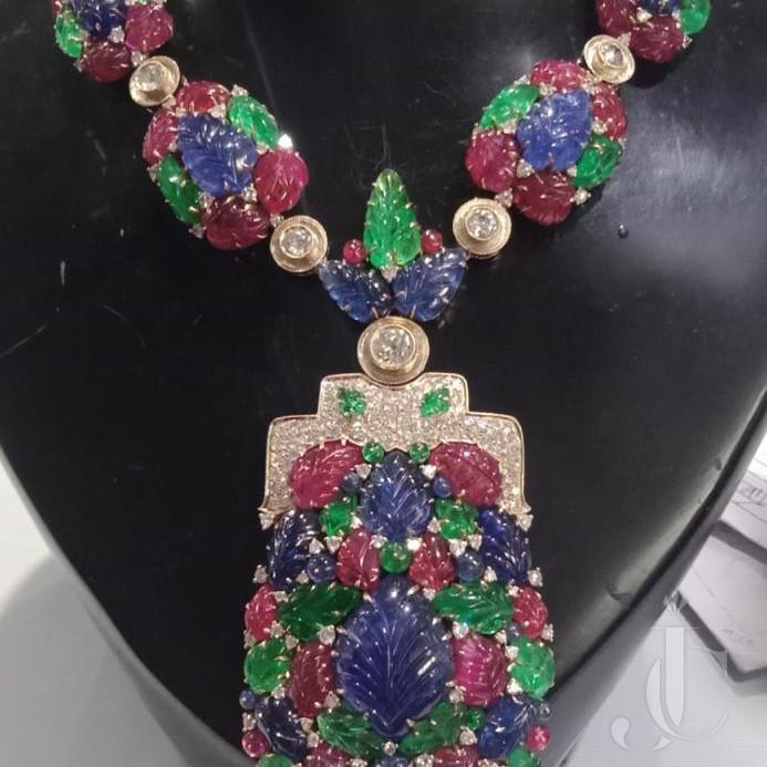 Art Deco Style Tutti Fruiti Natural Ruby Emerald & Sapphire Leaf Necklace