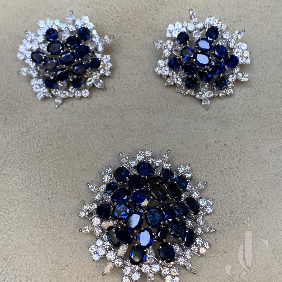 French Platinum Diamond and Sapphire Set