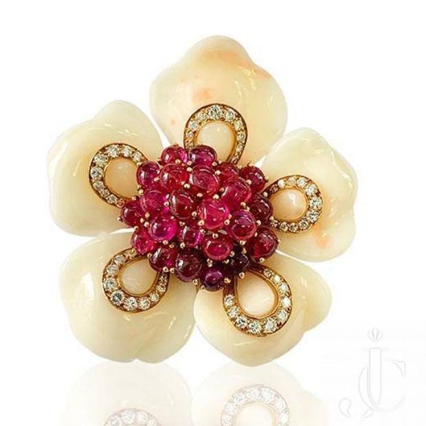 Bulgari 1960's Coral Ruby Dia Pin