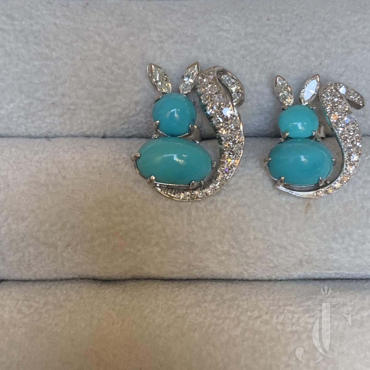 Squirrel Turquoise earrings, Platinum