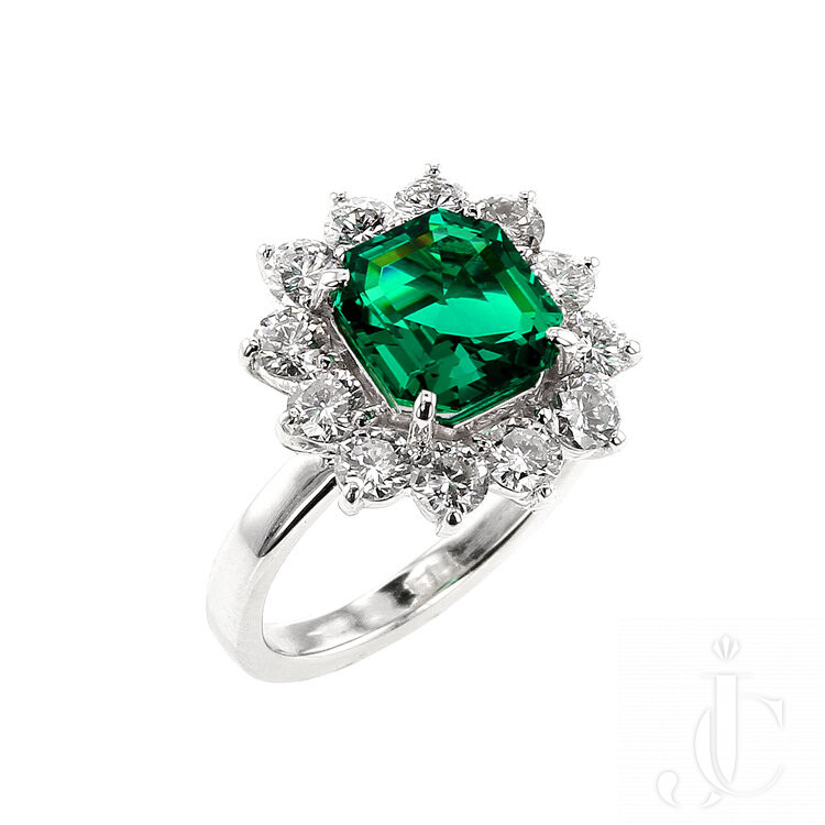 2 Carat No Oil Colombian Emerald and Diamond Cluster Platinum Ring