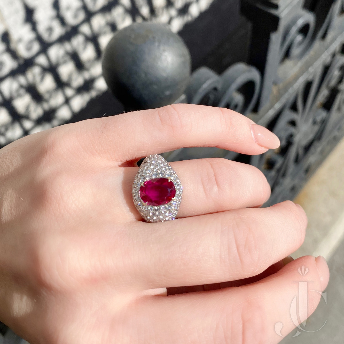 3.09 Carat Unheated Mozambique Ruby Ring, set in 18kt WG with Diamonds