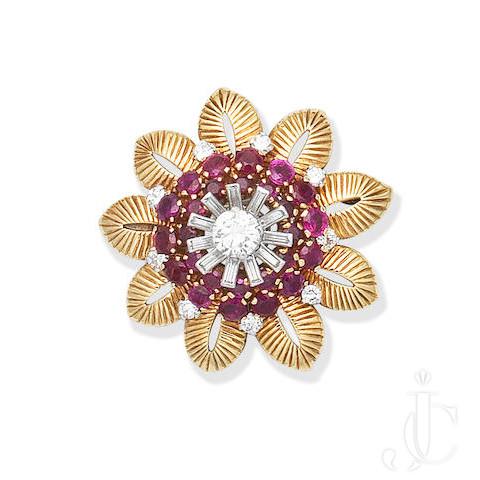 MID CENTURY RUBY, DIAMOND, GOLD FLOWER BROOCH