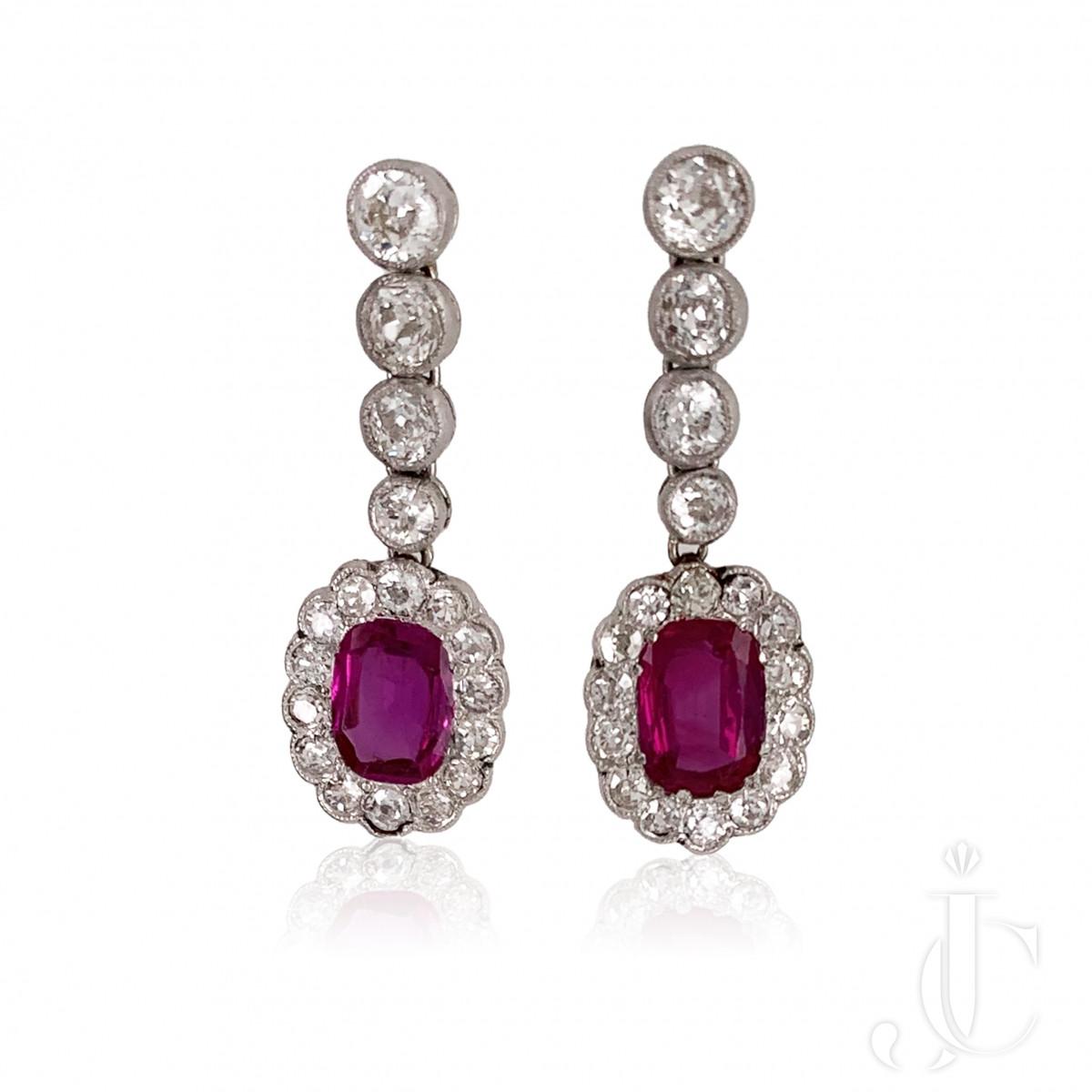 Burma Ruby Diamond Earrings