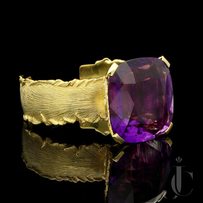 180ct Amethyst  & gold cuff by Simon Benny