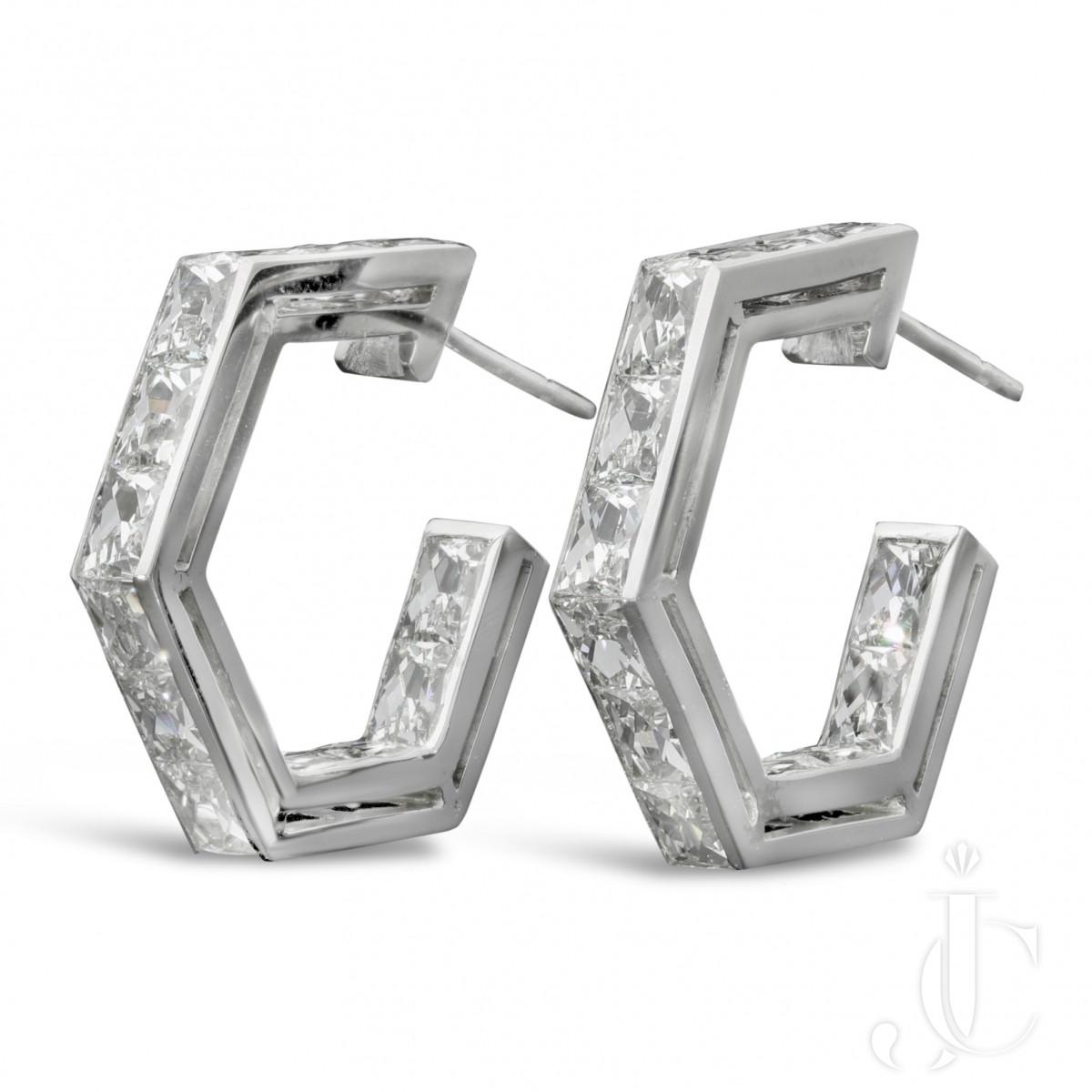 French cut Diamond geometric hoop earrings by Hancocks