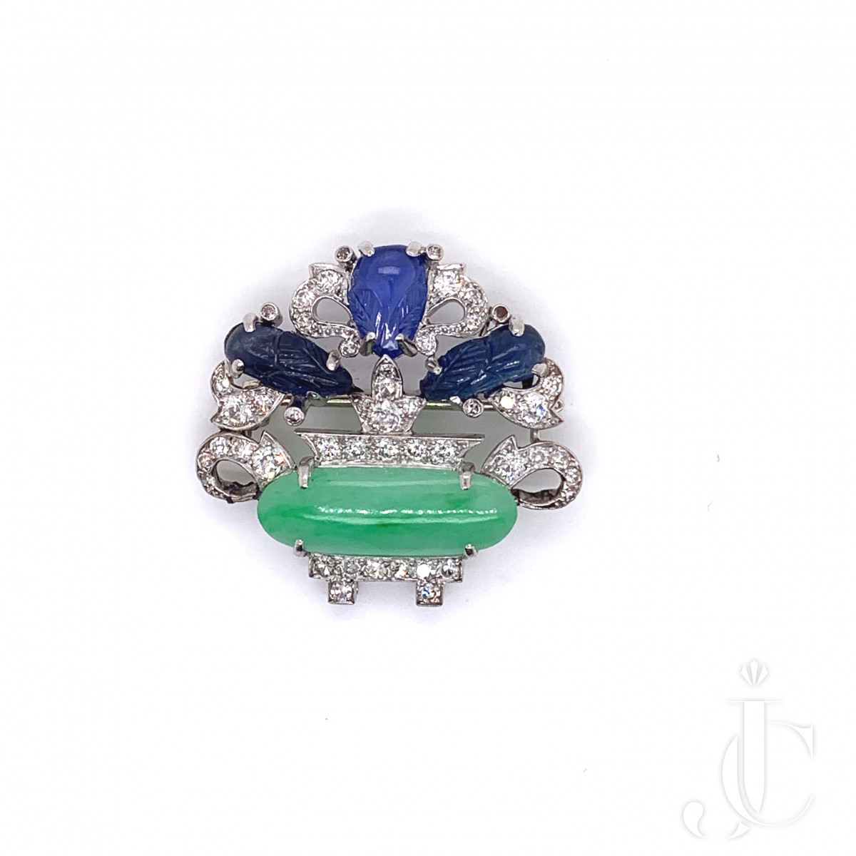 Platinum, Type A Jade, Carved Sapphire and Diamond Flower Basket Brooch by Cartier