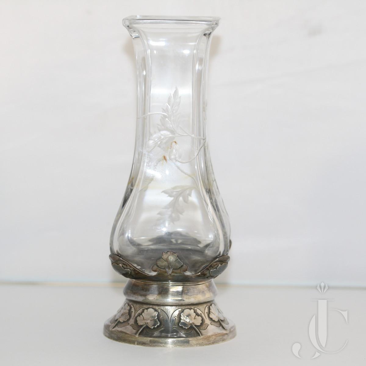 Art Nouveau  Engraved Glass and Silver Soli-Flor Flower Vase by Cardeilhac Paris