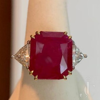 Natural Burma Ruby Octagon with Diamond Ring