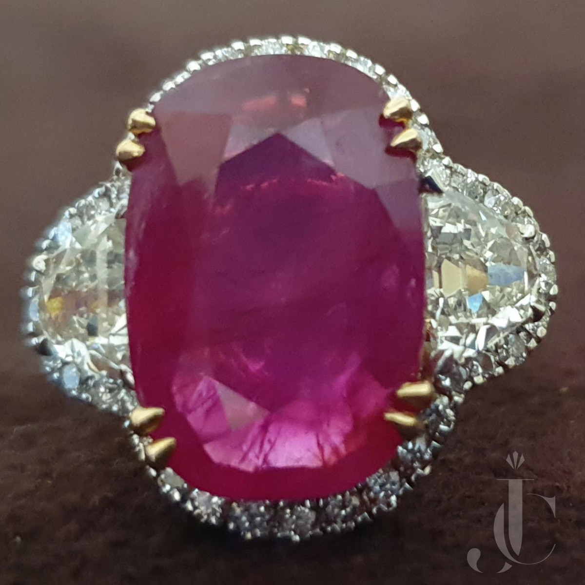 Natural Burma Ruby  Cut Oval with Diamond Ring