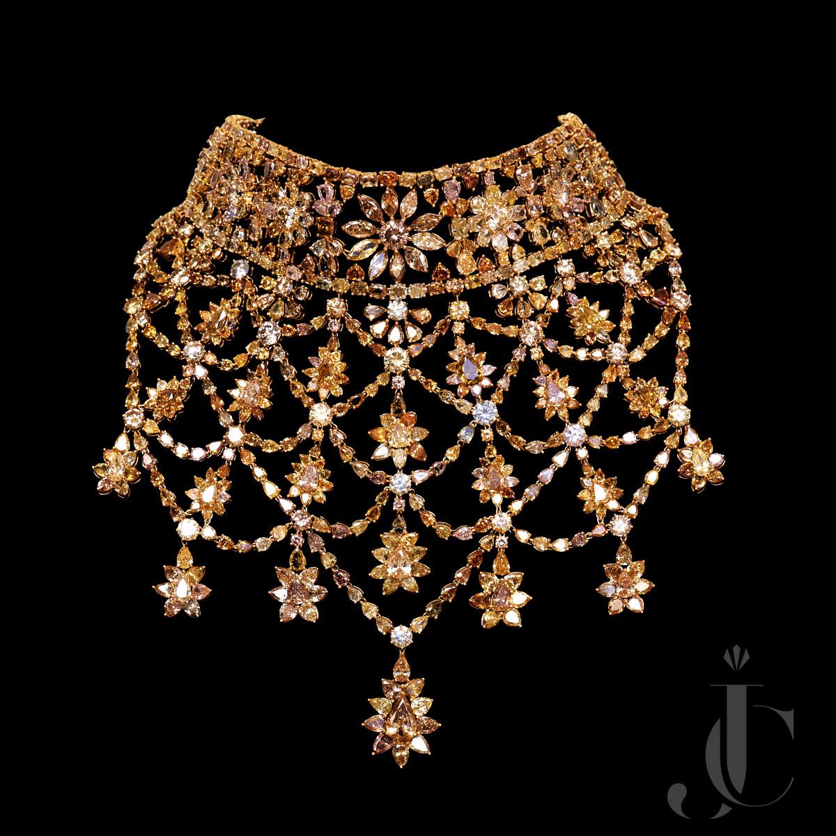 Natural Fancy Colour Diamonds Necklace & Earing