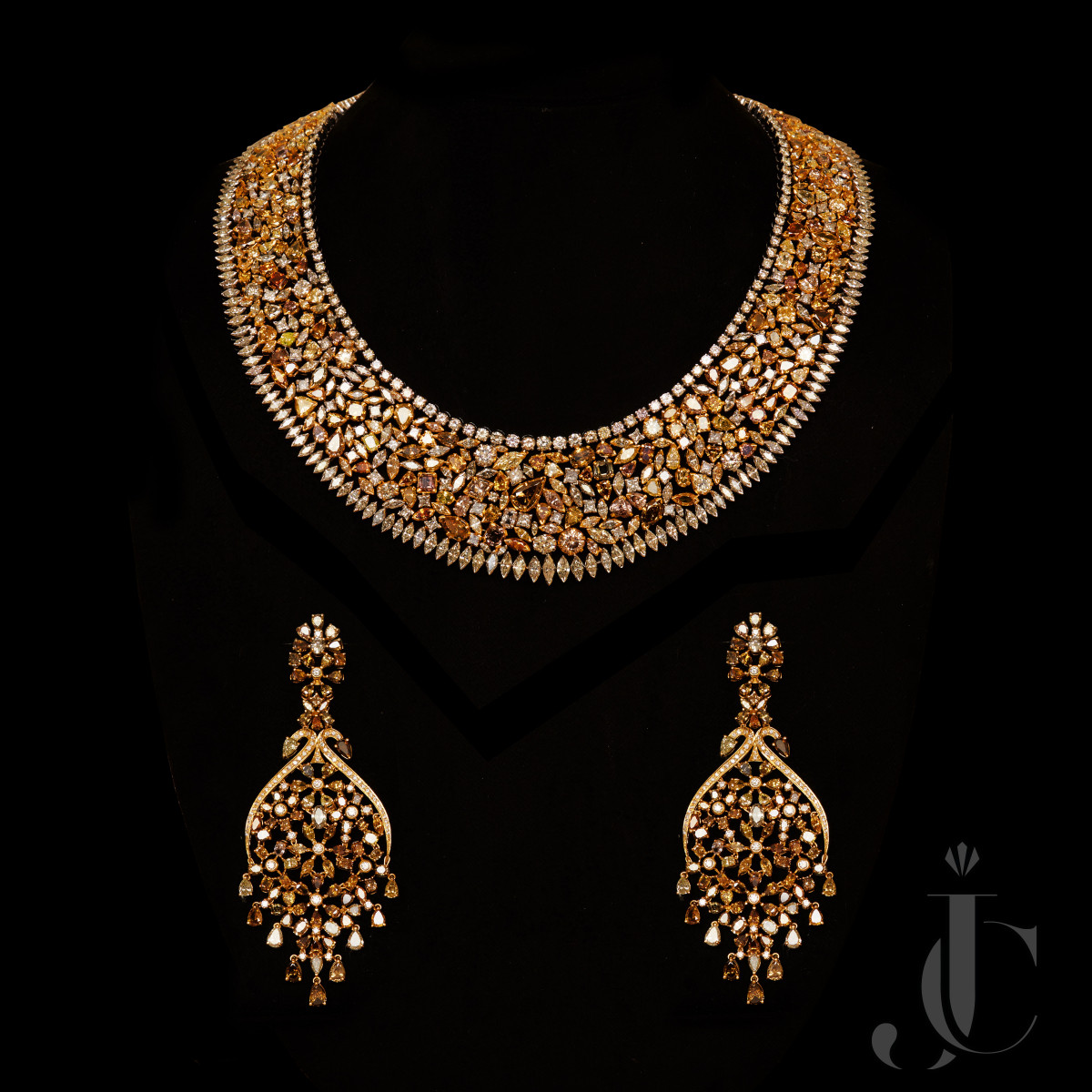 Natural Fancy Colour Diamond Necklace & Earing
