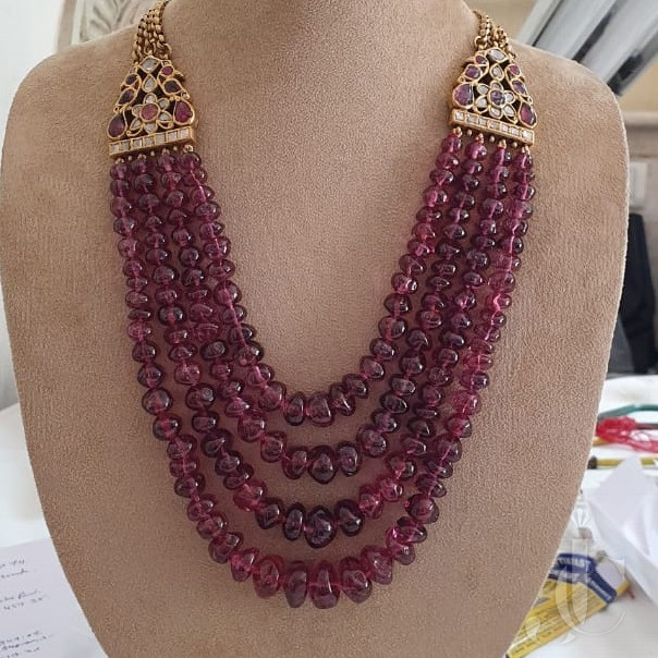 Very Unique Natural Spinel Beads Four Line Necklace with Golden Antique Clip Chain