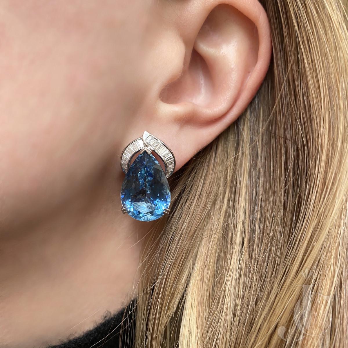 Aquamarine Pearshape and Diamond Earrings