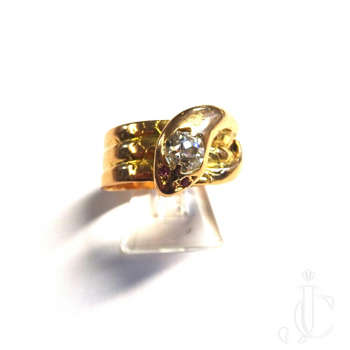 Gold Diamond Snake Ring