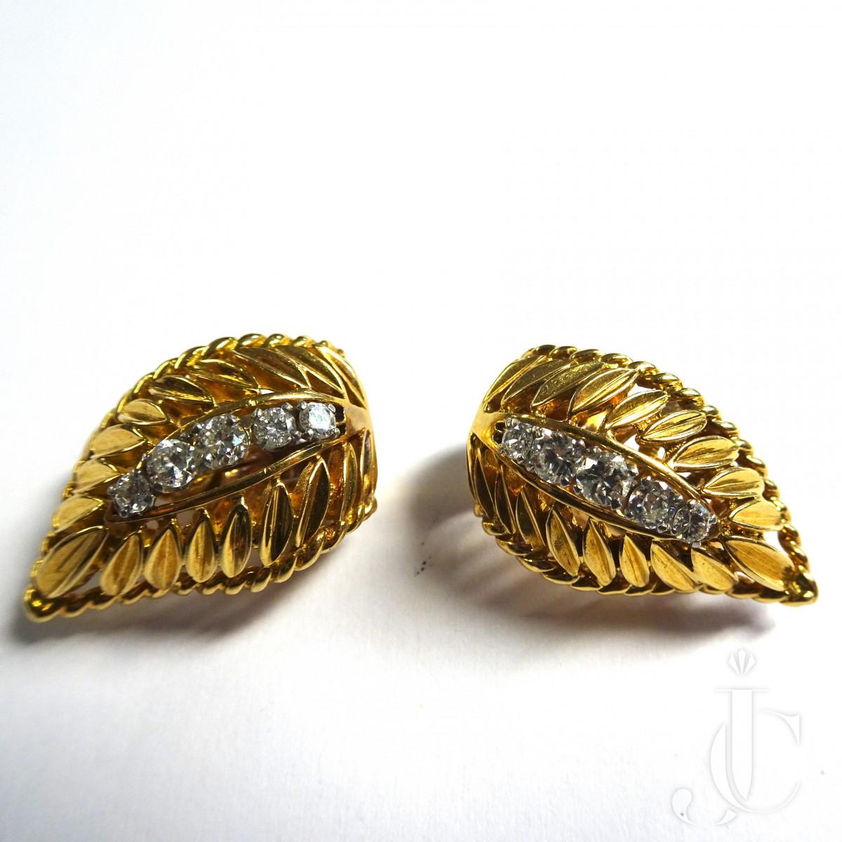 Gold Diamond Ear Clips
