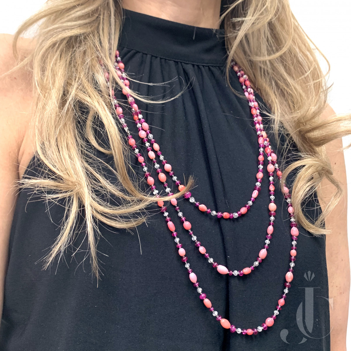 Conch Pearl Ruby and Diamond Necklace