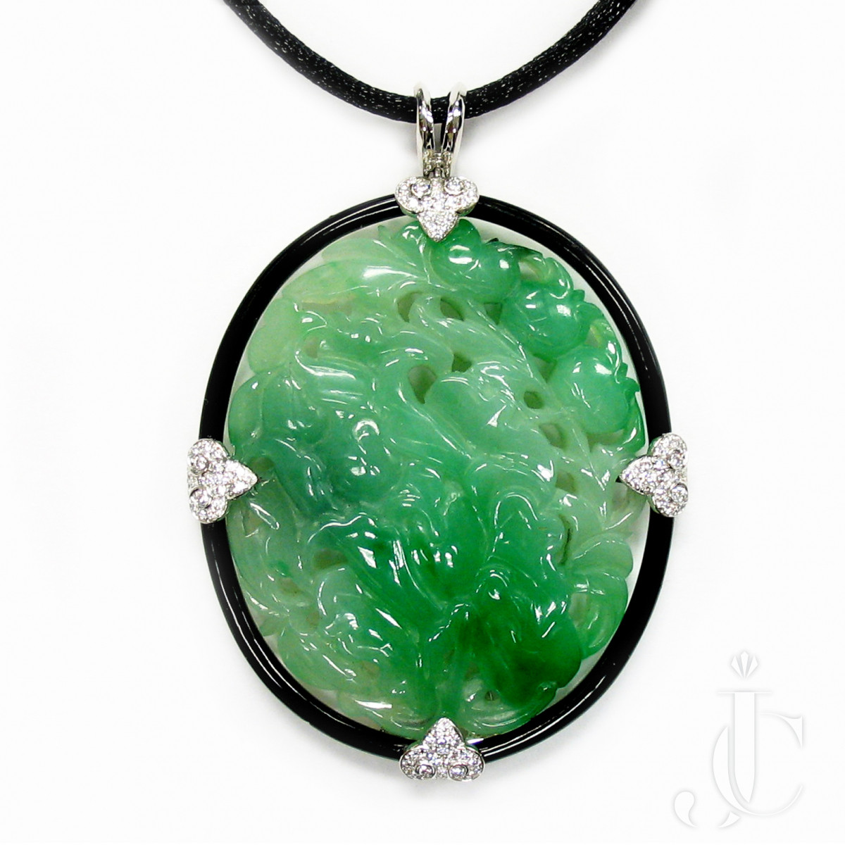 Carved Jade Diamond and Onyx Pendant, 18kt White Gold