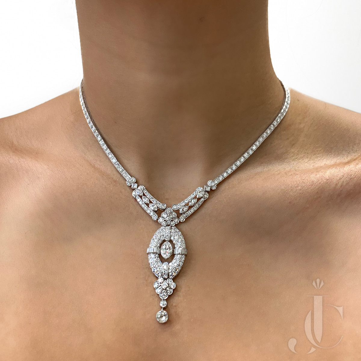 Deco Platinum Diamond Necklace