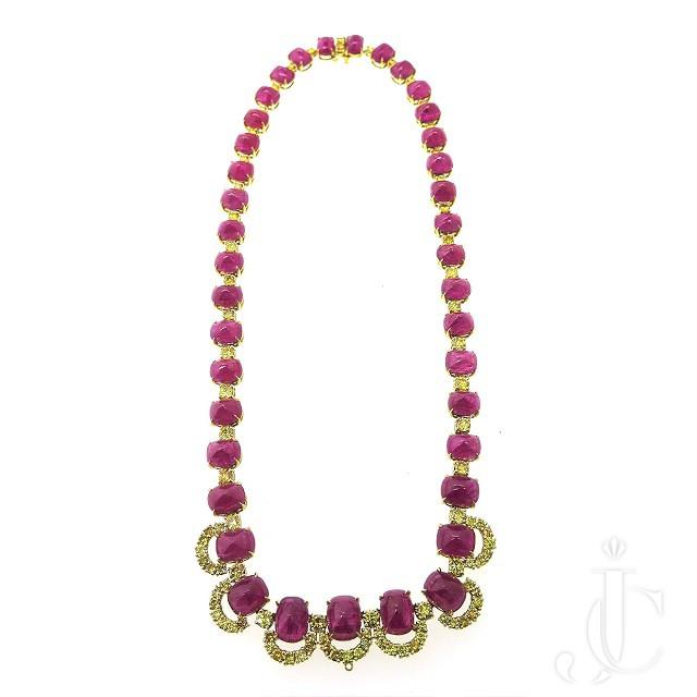 No Heat Ruby Vivid Yellow Diamond Necklace