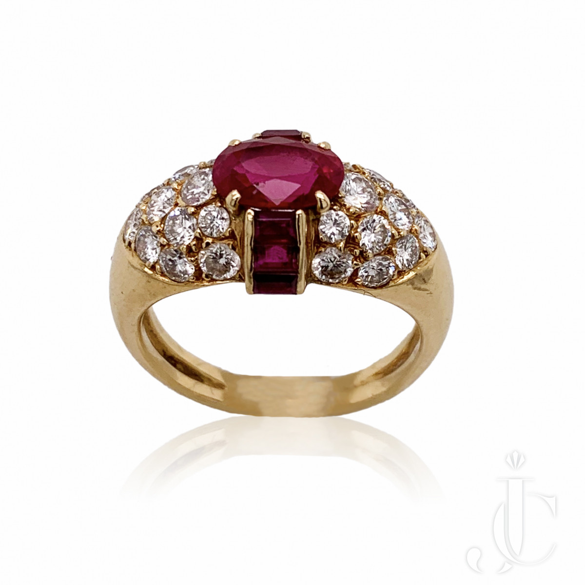 French 18kt Ruby and Diamond Ring