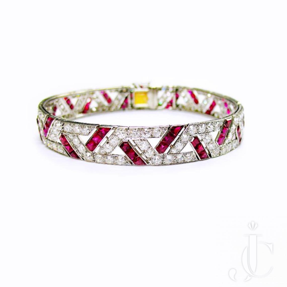 Platinum Art Deco Ruby and Diamond Bangle Bracelet, French, circa 1930