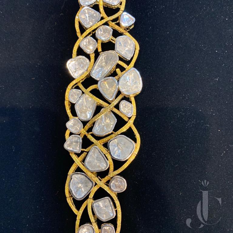 Rose Cut with Fancy Colour Diamond Bracelet