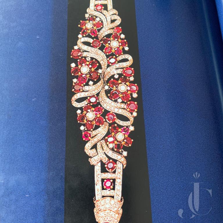 Natural Burma Ruby Oval & Diamond Bracelet