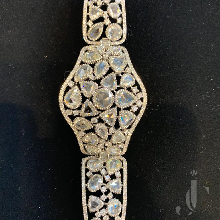 White Rose Cut Diamond Bangle