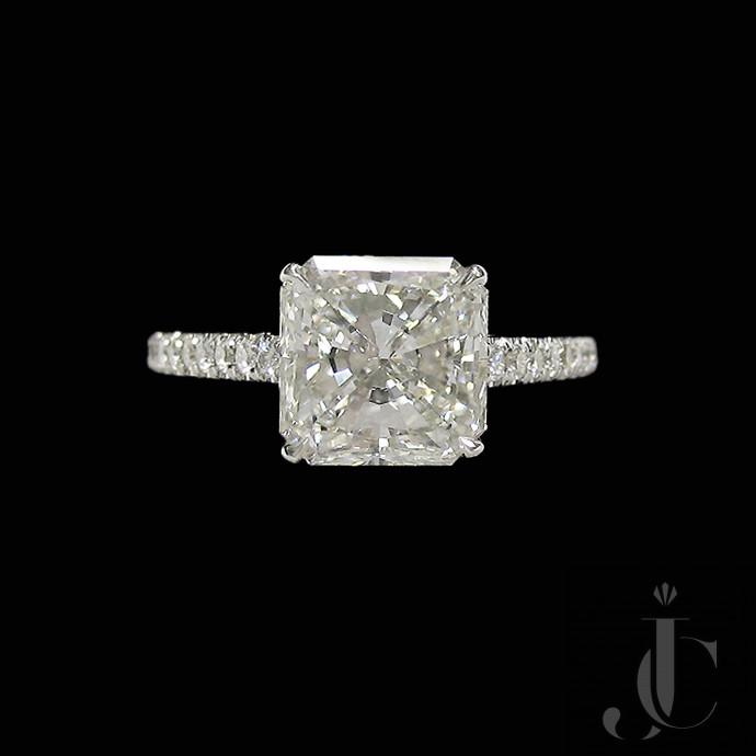 Platinum 2.29 Carat Radiant Cut Diamond Ring