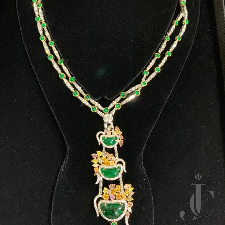 Emerald with Fancy Colour & White Diamond Necklace