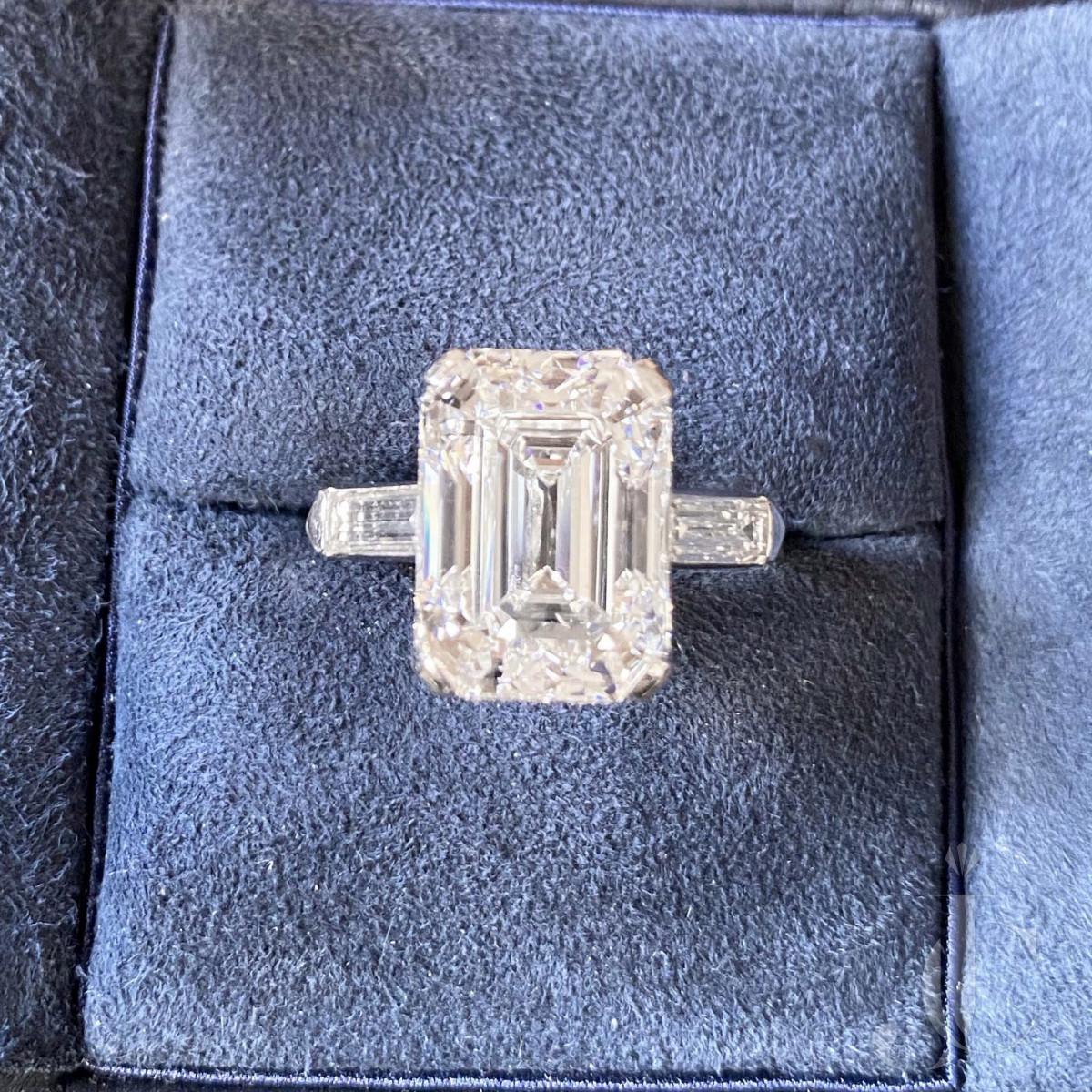 Platinum 7.63 cts. Emerald Step Cut Diamond Ring, circa 1930, Type IIa