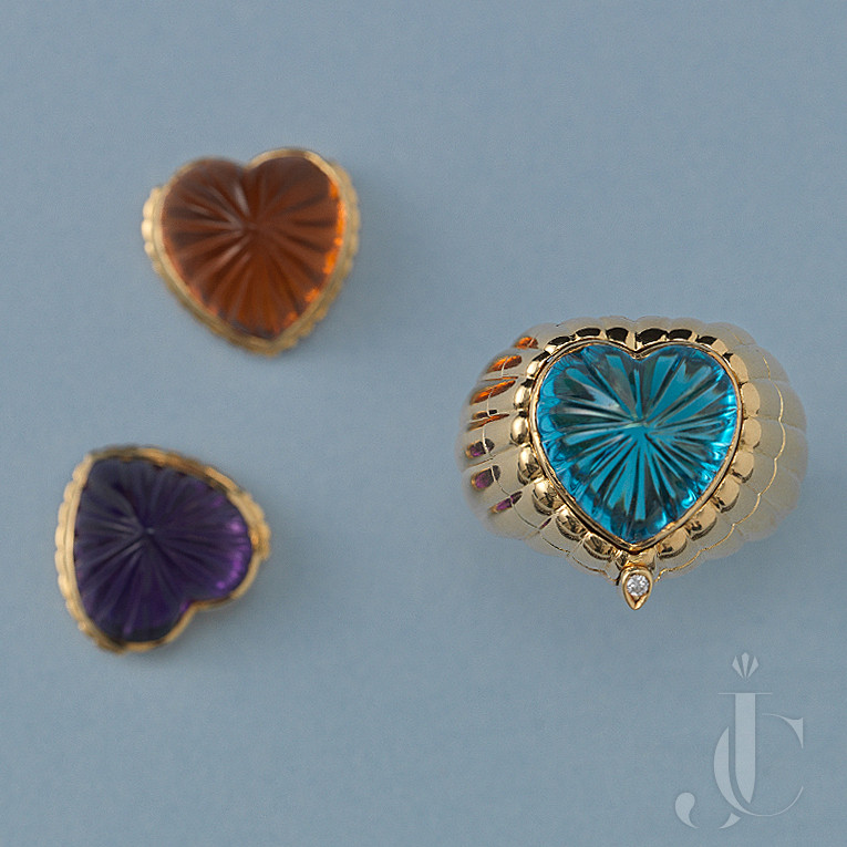 GOLD HART SHAPED RING WITH AMETHYST, CITRINE OR BLUE TOPAZ
