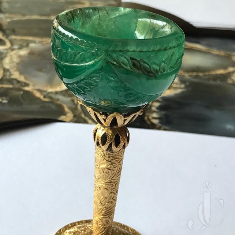 Antique Emerald Wine Cup with Gold Stand Engraved with Arabic Scripts