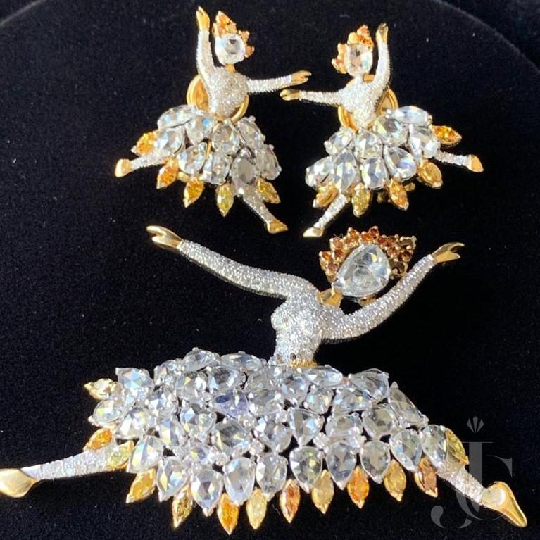 Balerina Dancing Doll Uncut Diamond & Fancy Colour Diamond in Gold
