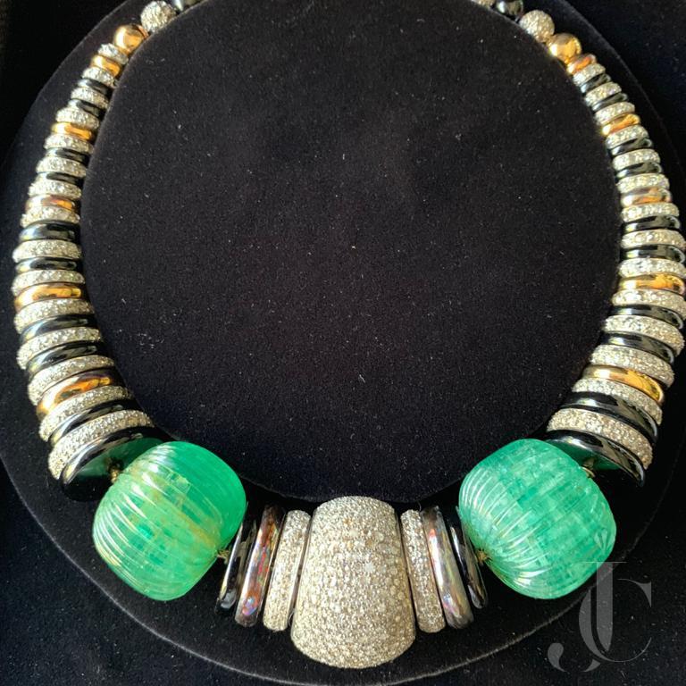 Art Deco Style Emerald Diamond Necklace