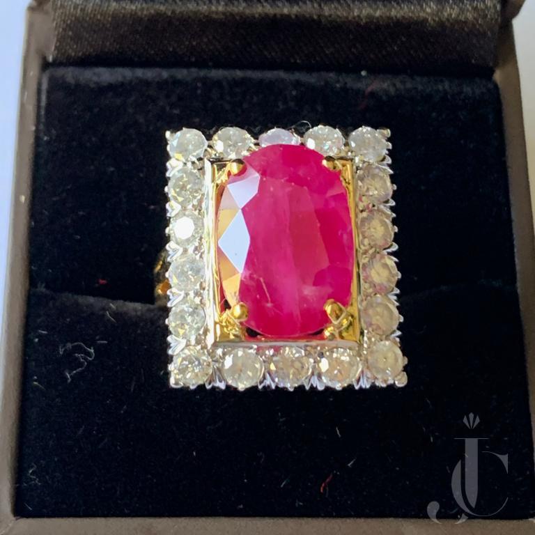 Heated Burma Ruby Oval with Diamond Ring