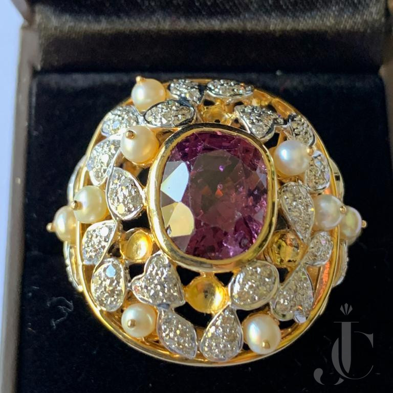Spinel Oval with Pearl & Diamond Ring