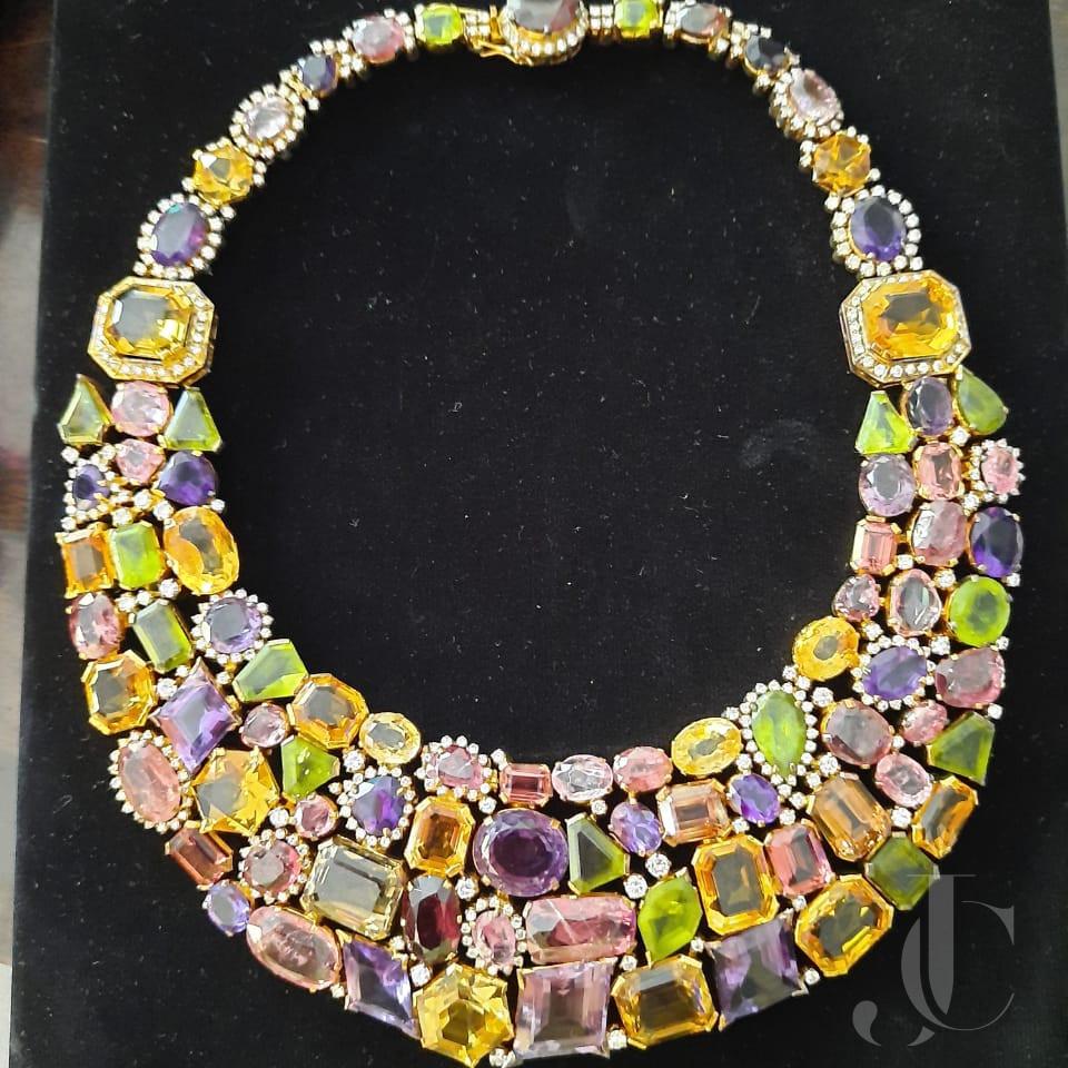 Mix Shape Mix Colour Semi Precious Stones with Diamond big Necklace in Silver