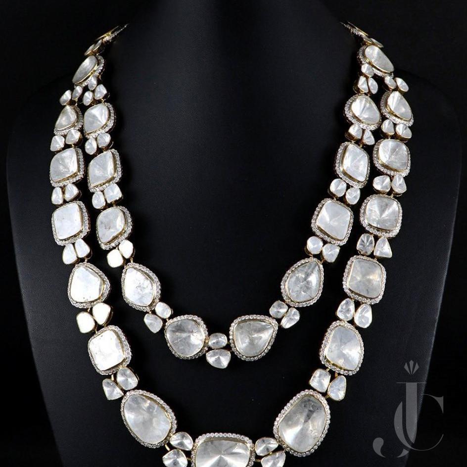 Rose Cut (Un Cut) Diamond Necklace in Gold