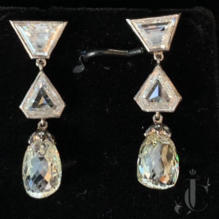 Diamond Drops with Un Cut Diamond Earing Pair