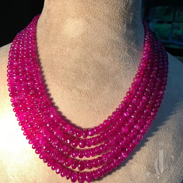 Natural Burma Ruby Beads Five Line Necklace with Back Clip