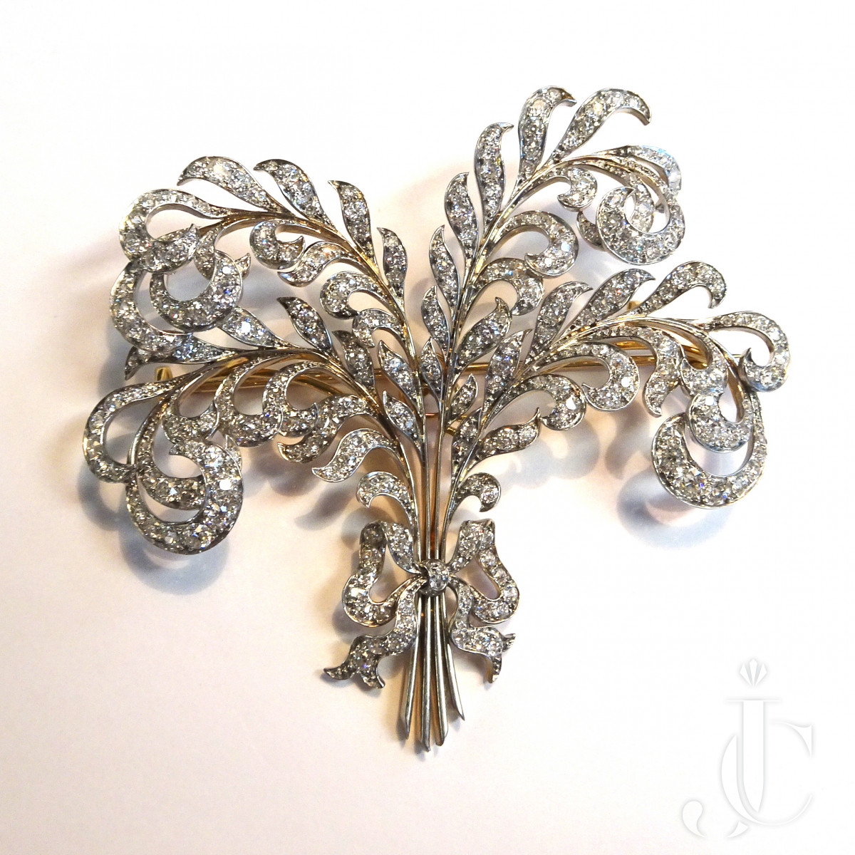 Diamond Feather Brooch