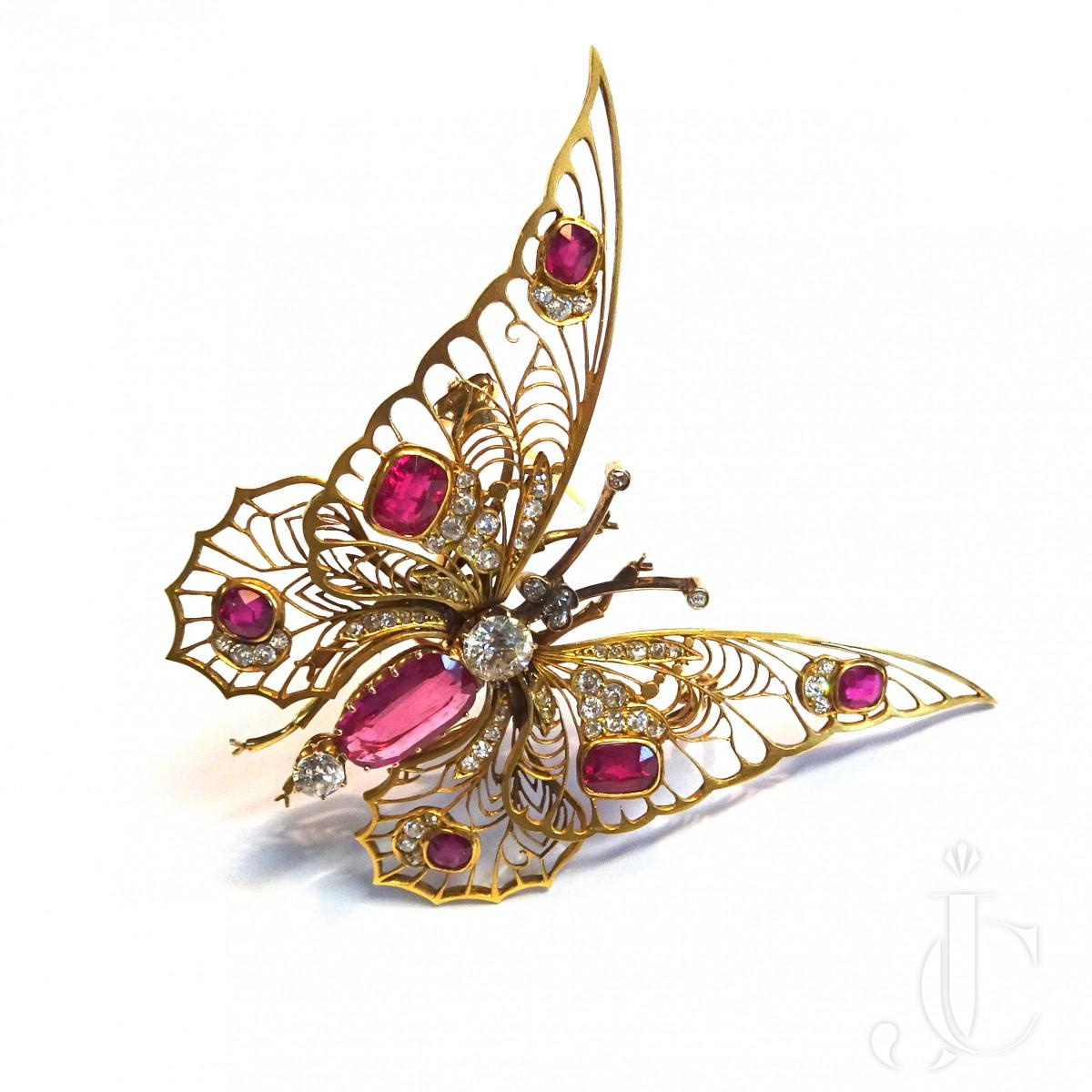 Victorian Ruby Diamond Butterfly Brooch