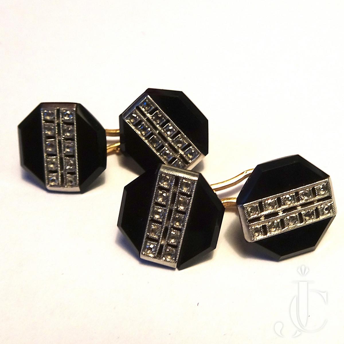 Deco Onyx Diamond  Cufflinks