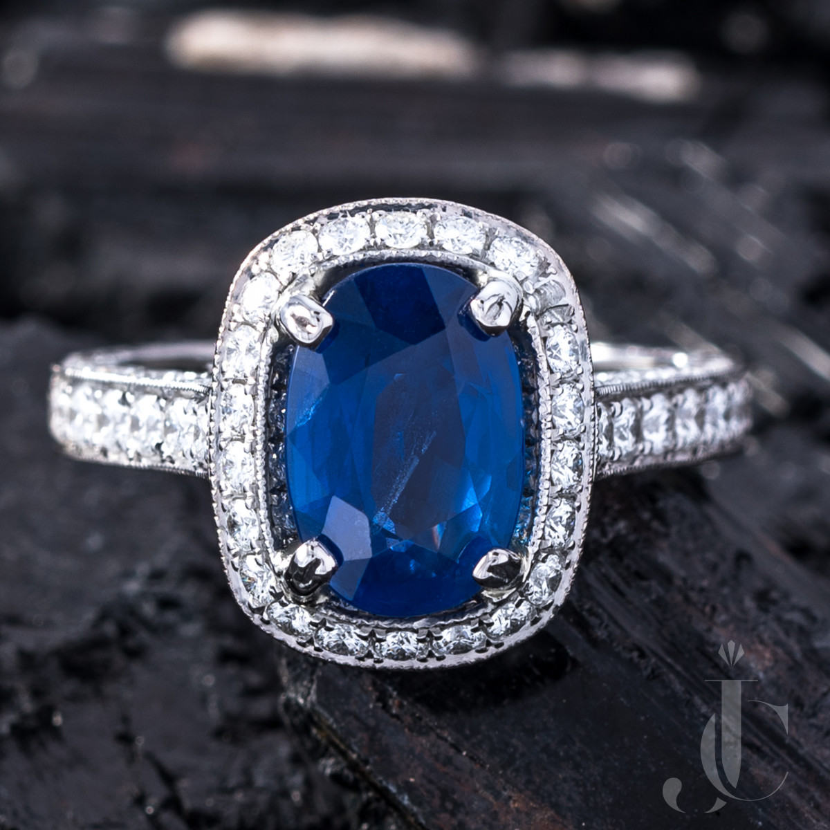 No Heat Burma Sapphire and Diamond Platinum Ring