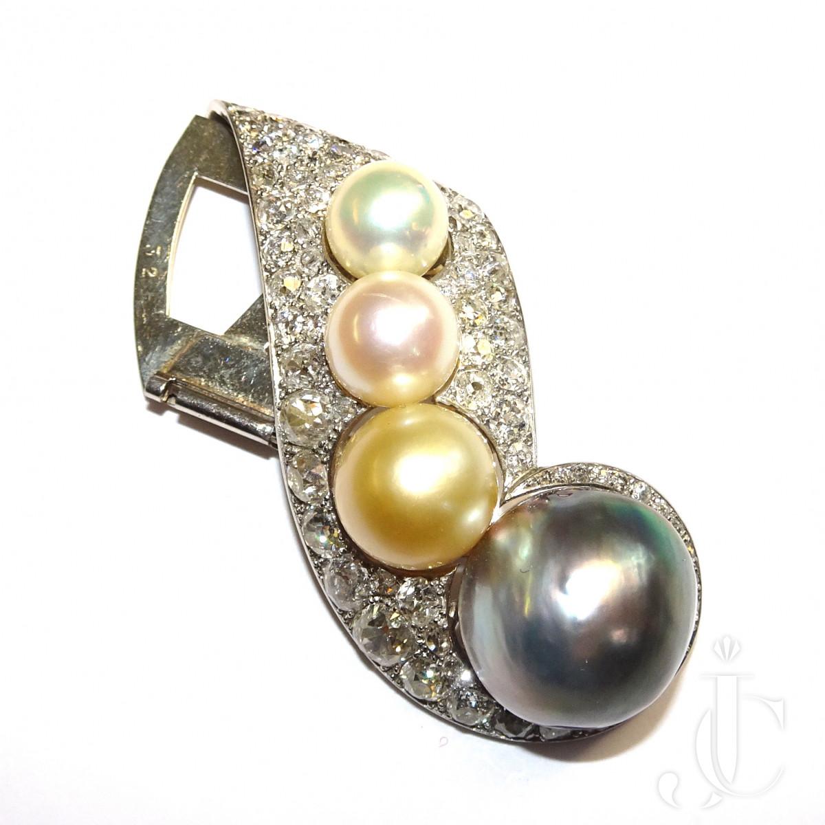 Rene Boivin Cult.Pearl Diamond Brooch