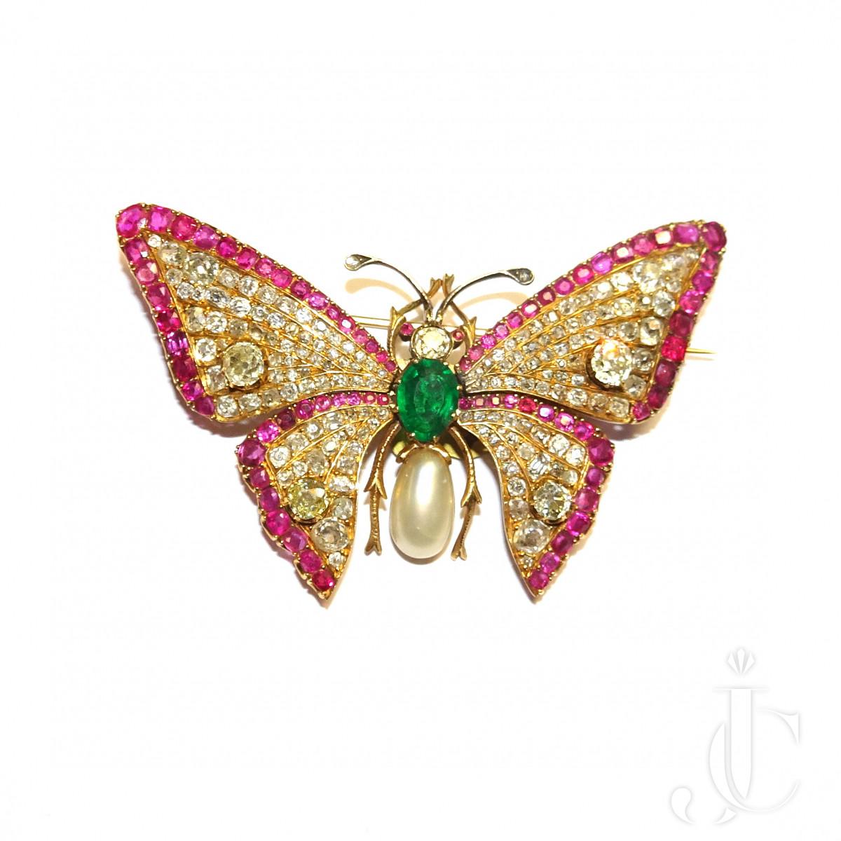 Ruby Diamond Butterfly Brooch
