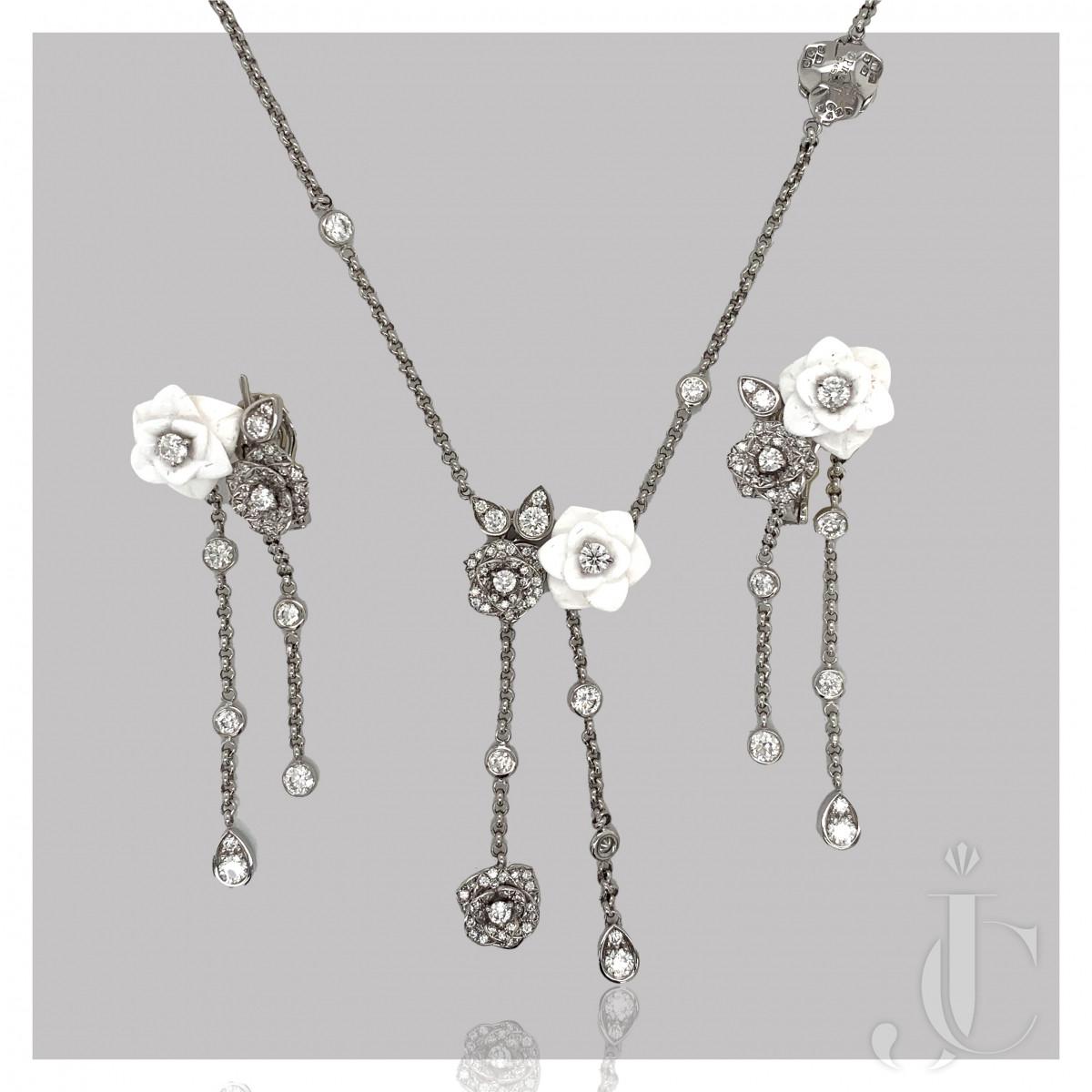 Piaget Diamond Flower Pendant & Earrings